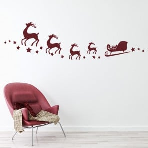 Santa Reindeer Stars Wall Sticker Festive Christmas Wall Decal Kids Shop  Decor