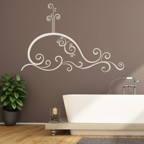 swirl whale sealife sea bathroom wall stickers bathroom home decor art decals