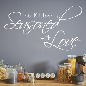 Seasoned With Love Wall Sticker Family Quote Wall Decal Kitchen Home Decor
