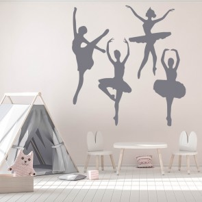 Ballet Dancers Wall Sticker Set Ballerina Wall Decal Girls Bedroom Home  Decor