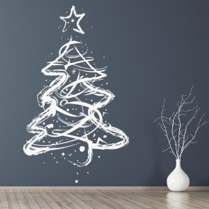 Sketch Christmas Tree Wall Sticker Xmas Star Wall Decal Festive Shop Home  Decor