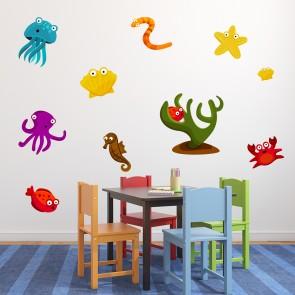 Under The Sea Wall Sticker Set Sea Animals Wall Decal Kids Bathroom Home  Decor Part 62