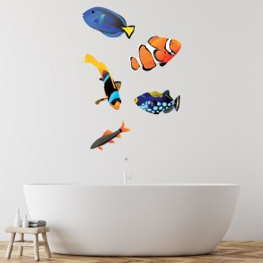 Tropical Fish Wall Sticker Group Under The Sea Wall Decal Kids Bathroom  Decor Part 55