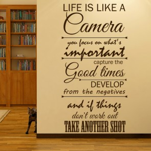 Life Is Like A Camera Wall Art Wall Sticker Quote Part 88