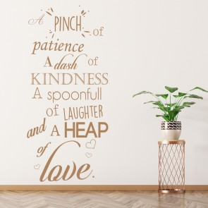 Patience Kindness Laughter Love Recipe Wall Quote Wall Sticker Kitchen Art  Decal Part 52