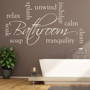 Bathroom Words Wall Sticker Relax Soak Unwind Wall Decal Calm Tranquil Decor