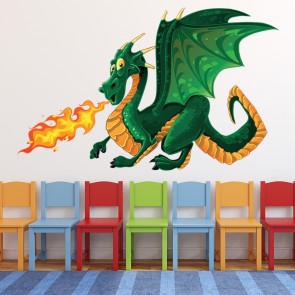 Green Dragon Wall Sticker Monster Wall Decal Kids Bedroom Home Decor