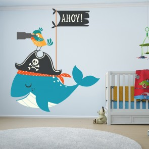 Pirate Wall Sticker Whale U0026 Parrot Animal Wall Decal Bathroom Nursery Home  Decor