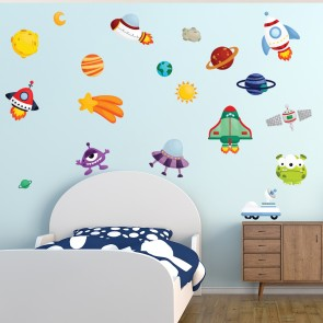 Space Wall Sticker Set Cartoon Alien Wall Decal Kids Bedroom Nursery Home  Decor Part 83