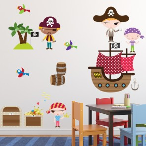 Pirate Ship Wall Sticker Set Treasure Pirate Wall Decal Kids Bedroom Home  Decor