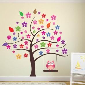 Owl Tree Wall Sticker Flower Wall Decal Girls Room Nursery Home Decor Art Part 42