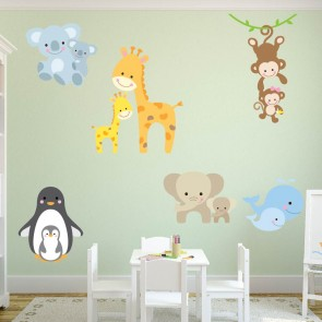 Cute Animal Wall Sticker Set Monkey Giraffe Wall Decal Baby Nursery Home  Decor Part 93