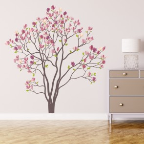 Pink Rose Tree Wall Sticker Floral Flower Wall Decal Living Room Home Decor Part 62