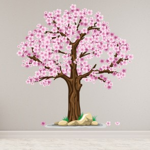 Floral flowers trees foliage wall stickers iconwallstickers pink cherry tree wall sticker floral wall decal living room home decor mightylinksfo