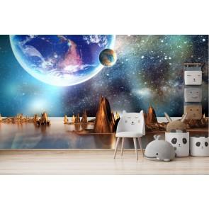 Alien Planet space scene porthole wall sticker 044