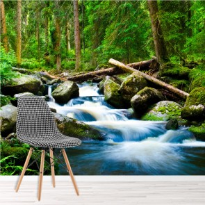 Green Trees Wall Mural Forest Waterfall Photo Wallpaper Living Rom Bedroom Decor