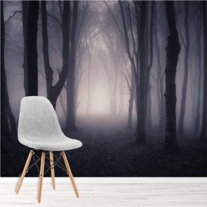 Dark Misty Woods Wall Mural Forest Trees Photo Wallpaper Bedroom Home Decor