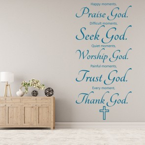 Happy Moments Praise God Wall Sticker Religious Decal Christianity Decor