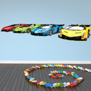 Sports Cars Wall Sticker Transport Wall Decal Boys Bedroom Home Decor