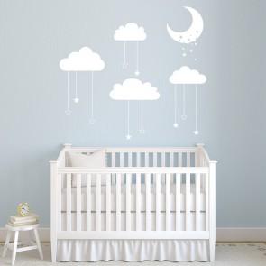 Star U0026 Moon Cot Mobile Wall Sticker Cloud Wall Decal Baby Nursery Decor Part 70