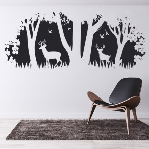 Deer Wall Sticker Scene Flowers Trees Wall Decal Living Room Home Decor