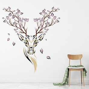 Merveilleux Floral Deer Wall Sticker Animals Stag Wall Decal Living Room