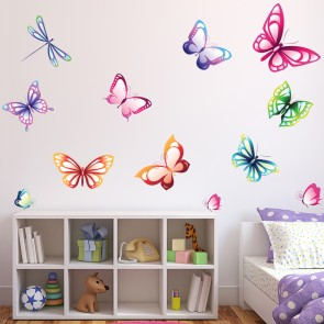 Bright Butterfly Wall Sticker Set Butterflies Wall Decal Girls Bedroom Decor