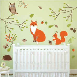 Woodland Animals Wall Sticker Set Fox Owl Wall Decal Kids Bedroom Home Decor Part 58