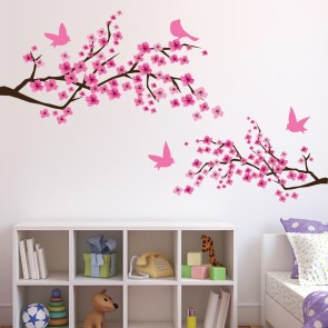 Pink Cherry Blossom Wall Sticker Flowers U0026 Birds Wall Decal Girls Bedroom  Decor Part 84