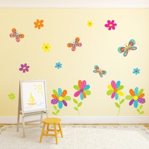 Daisy Flowers Wall Sticker Butterfly Wall Decal Girls Room Nursery Home  Decor Part 43