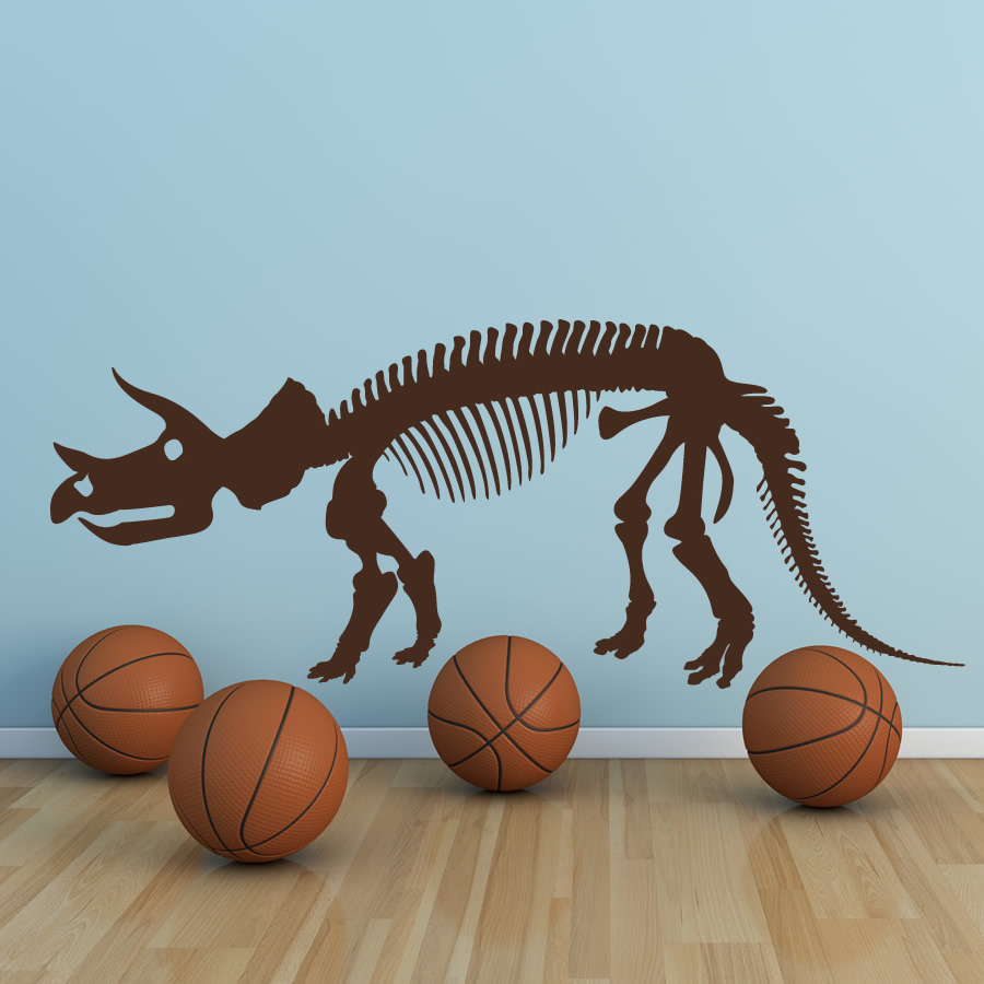 Triceratops Skelton Dinosaur Wall Stickers Childrens Bedroom Decor Art Decals