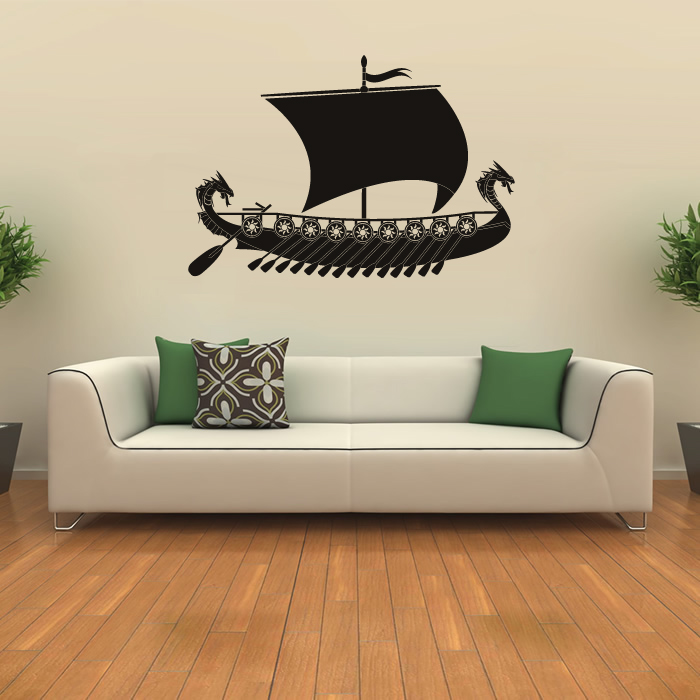 Viking Ship Longboat Battleship Boats Wall Sticker Bathroom Home Decor Art Decal