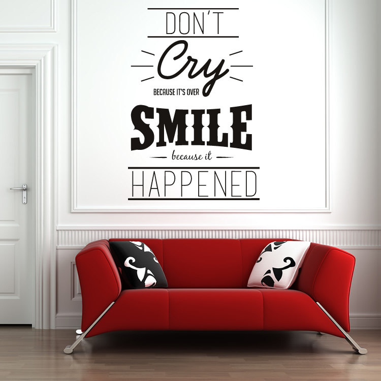 Don't Cry Because Its Over Life And Inspirational Quote Wall Stickers Art Decals