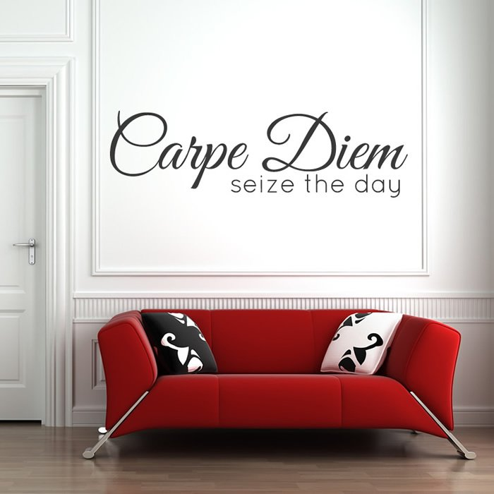 Carpe diem wall sticker bathroom quote wall decal for Bathroom wall decor quotes