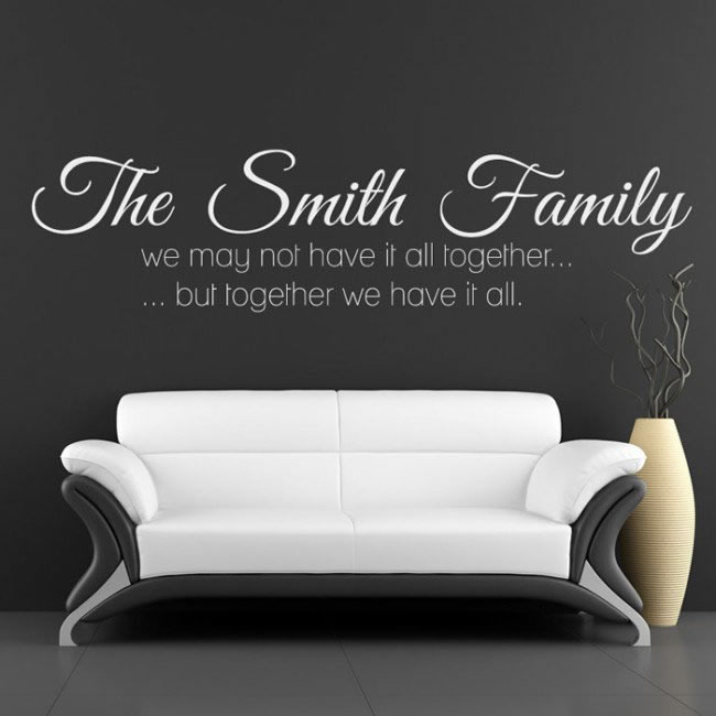 Personalised Name Wall Sticker Family Quote Wall Decal Living Kitchen Home Decor & Family Name Wall Art Quote Wall Stickers