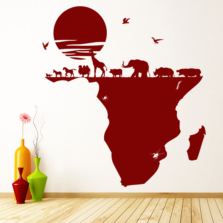 African Animals Africa Map Wild Animals Wall Stickers Home Decor Art Decals