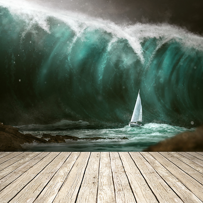 Yacht Escapes Tsunami Natural Disaster Ocean Wall Mural Nautical Photo Wallpaper